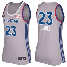 Women's Cleveland Cavaliers #23 LeBron James Gray 2017 All-Star Jersey