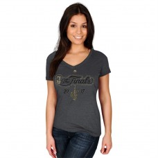 Women's 2017 Finals Cavaliers Metallic Logo Gray T-Shirt