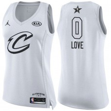 Women's Cleveland Cavaliers #0 Kevin Love White 2018 All-Star Jersey