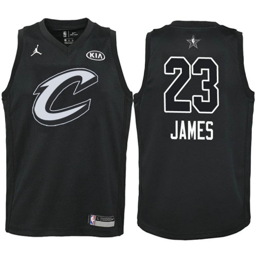 Youth Cleveland Cavaliers #23 LeBron James Black Swingman 2018 All-Star Jersey