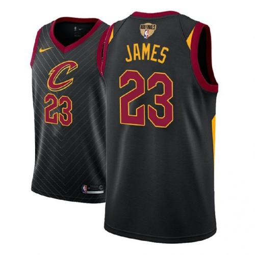 2018 Finals Patch LeBron James Cavaliers Black Jersey