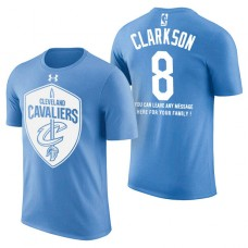 Cleveland Cavaliers #8 Jordan Clarkson Blue Father's Day T-Shirt