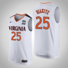 Virginia Cavaliers #25 Mamadi Diakite White 2019 Final-Four Jersey