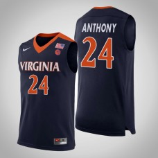 Virginia Cavaliers #24 Marco Anthony Navy College Basketball Jersey
