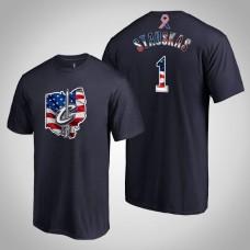 Cleveland Cavaliers Nik Stauskas #1 2019 Memorial Day Banner State Navy T-shirt