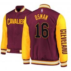 Cleveland Cavaliers #16 Cedi Osman Maroon Satin Full Snap Jacket