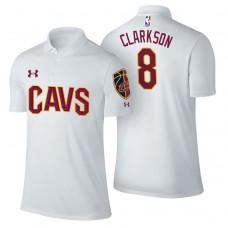 Cleveland Cavaliers #8 Jordan Clarkson White Association Polo