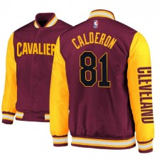 Jose Calderon Cavaliers #81 Maroon Satin Full Snap Jacket