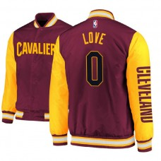 Cleveland Cavaliers #0 Kevin Love Maroon Satin Full Snap Jacket