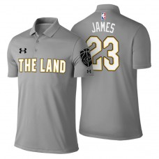 LeBron James Cavaliers #23 City Edition Gray Performance Polo