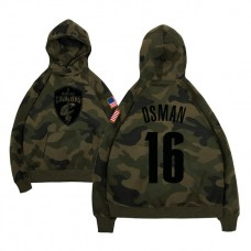 Cleveland Cavaliers #16 Cedi Osman Camo Name & Number Hoodie