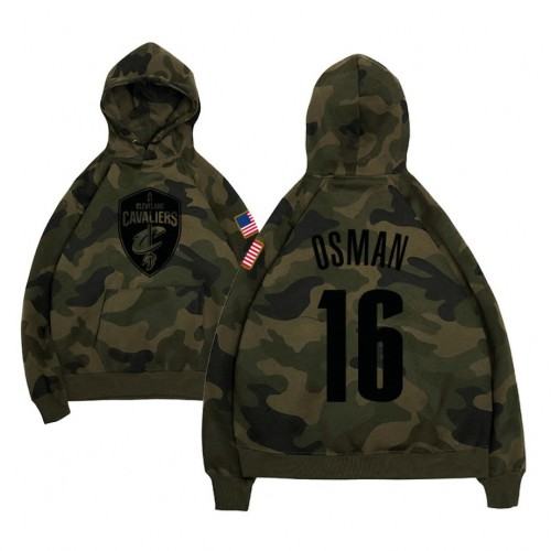Cleveland Cavaliers #16 Cedi Osman Camo Name & Number Hoodie