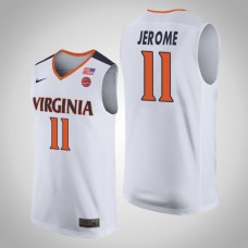 Virginia Cavaliers #11 Ty Jerome College Basketball White Jersey