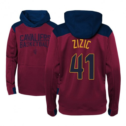 Youth Cleveland Cavaliers #41 Ante Zizic Maroon Outerstuff Off The Court Hoodie