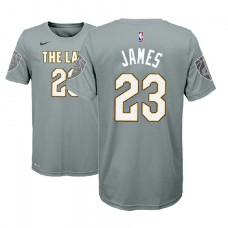 Youth Cleveland Cavaliers #23 LeBron James Gray City T-Shirt